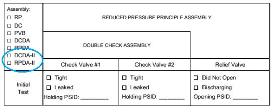 DCDA-II & RPDA-II – Type 2 backflow devices; how do you record test results?